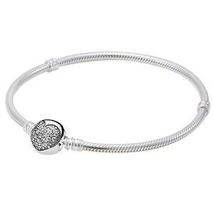 Nouvelle 925 Bracelet en argent sterling Pave amour coeur avec cristal fermoir serpent chaîne Bracelets Bangle Fit Perle Charm Fine Jewelry