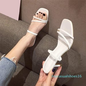 2020 New Women's Thin High Heels Slippers Women Square Toe Candy Color Sandals Woman Slides Fashion Female Beach Shoes Ladies t14