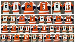 Filadélfia Vintage Folhetos 27 Reggie Leach 33 Pete Peeters 16 Bobby Clarke 9 BOB KELLY 7 Bill Barber Dave Schultz Personalizado CCM Hockey