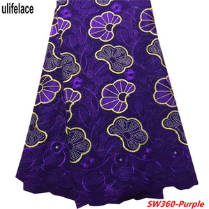 Purple High Quality Swiss Voile Laces Suiza Cotton African Cotton Cotton Lace 2019 Nigerian Voile Lace Material SW-360