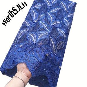Роскошные Нигерийский кружева Ткань 2020 Высокое качество Синий Зеленый Последние корд Шнурки ткань шнурка с камнями Бусы Африканских для платья партии