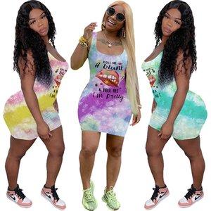 Las mujeres vestidos de verano de la marca Cartas diseño de impresión del chaleco vestido sin mangas de labios teñido anudado de la moda camiseta ocasional de la mini falda de Bodycon de los vestidos D6502