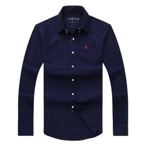 2020 Herbst und Winter Plaid Größe Männer Langarm-Shirt Männer-Marke POLO-Hemd Oxford Business-Hemd Pony Kleidung S-3XL
