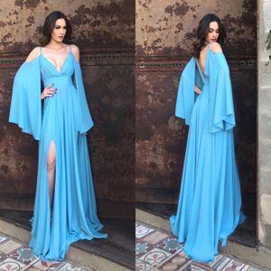 Ocean Blue Женщины Пром платья Спагетти Backless Sweep Поезд шифон женские вечерние платья партии девушки Ежедневно платье платье для особых случаев
