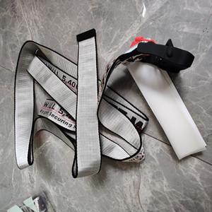 Cintos de venda quente de alta qualidade OW Belt Unisex Belt estilo industrial lona Corrigir Cintos Versão letras amarelas Tide Cintos de Abastecimento