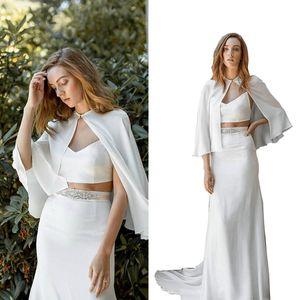 Pas cher Blanc demoiselle d'honneur et mariée capes Custom Made robe de soirée de mariage en mousseline de soie pour les femmes vestes Bolero livraison gratuite