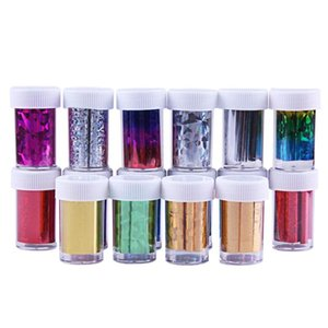 16 Bottiglie Glitter Water Transfer Wraps Foil Nail Art Stickers Colorful Shinning Decalcomanie Sticker Manicure Tips Decorazione