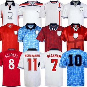 إنجلترا ريترو كأس العالم جيرسي 1982 1994 1998 2002 SHEARER BECKHAM SOCCER JERSEY 1990 1989 قميص كرة القدم جيرارد سكولز أوين 1994 هيسكي