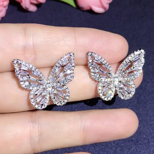creative design Cubic Zirconia butterfly stud Earrings elegant Korean style sweety earrings for women