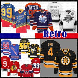 homens 99 heróis Wayne Gretzky Mens St. Louis New azuis York Rangers Edmonton Oilers CCM 4 Bobby Orr Boston Bruins de Los Angeles Hockey Jersey