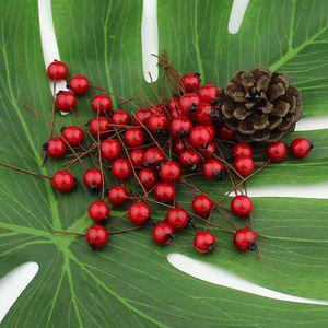 1 centimetro 50pcs fiori artificiali stami rossi bacche Cherry Falso liscio Schiuma di frutta per la cerimonia nuziale decorazione di Natale