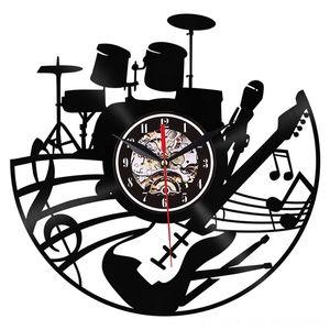 Guitar Clocks Home Dcor Art Clock Musical Instrument Home Interior Wall Decor Vinyl Record Wall Clock Rock N Roll Musical Gift