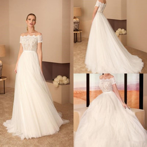 2019 A Line Wedding Dresses Off The Shoulder Lace Tulle Sweep Train Bridal Gowns Plus Size Vestidos De Noiva
