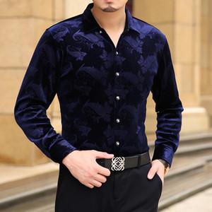 Luva longa dos homens camisas de vestido Primavera Outono Nova moda de alta qualidade Camisas Slim Fit Negócios Tops moda masculina