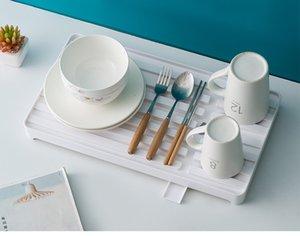 الأبيض البلاستيك متعدد الوظائف مربع رف طبق صينية تجفيف تجفيف الرف منظم المطبخ الفواكه الشاي علبة أدوات المطبخ أطباق