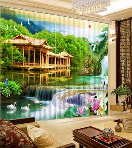 Window Curtains Lake scenery Blackout Curtains Living room Room Bedroom Window Grommet Top 3D