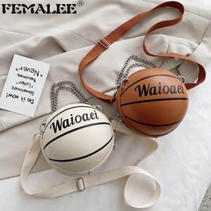 Moda simples esféricos Cadenas bolsa de Baloncesto de personalidad fría niñas Ronda bolso creativo del hombro Crossbody Diagonal Paquete