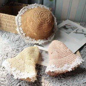 Melario Kız Çocuk Şapka 2020 Yaz Moda Nefes Straw Sevimli Bebek Kızlar Şapkalar Sunhat Çiçekler Çocuk Wear Caps