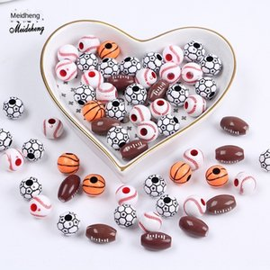 0D01g Acrylic special-shaped mixed ball children's handmade DIY accessories beads straight hole threading diy accessories large hole round b