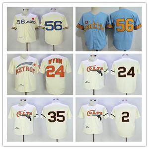1964 Homens Houston Colts Retro Nellie Fox Jimmy Wynn Joe Morgan Jersey Creme Azul 1969 Seattle Pilots Jim Bouton aposentado shirt costurado completa