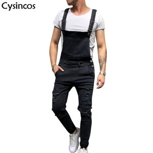 Cysincos Yeni Yırtık Kot Erkekler Tam Boy Denim Önlüğü Tulumları 2019 Sonbahar Kış Streetwear Pantolon Rahat Kot Homme Erkek Moda