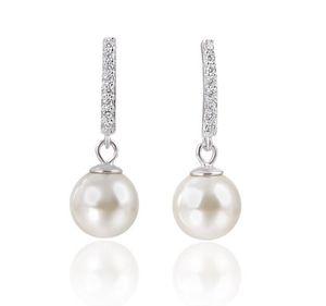 Neuheiten Schmuck Charme Ohrringe Echt 925 Reines Silber Shell Perlen Zirkonia Hochzeit Ohrringe für Frauen Mädchen Großhandel