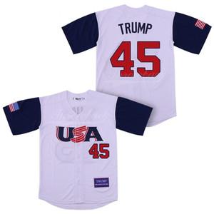 Mens EE.UU. jersey de béisbol de 45 Donald Trump 2016 Edición conmemorativa del 100% béisbol cosido Jersey barato Donald Trump blancas camisas S-3XL