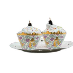 Mermaid Pattern Wrapper Cake Tazza di carta che circonda Gold Shining Torte Box White Card Multi Color Il nuovo 4gh C1