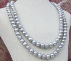 New Fine pearl jewelry 7-8MM tahitian silver grey pearl necklace 36inch maglione catena