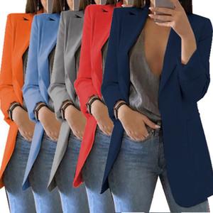 Sıcak Artı boyutu Kadınlar İnce Suit Casual Blazer Ceket Üst Dış Giyim Kariyer Uzun Ceket