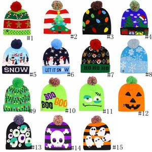 Llevó de Halloween de punto sombreros de la Navidad de los niños del bebé caliente del invierno de las gorritas tejidas del ganchillo de los casquillos de los muñecos de nieve del partido del festival calabaza Luz moda del sombrero GGA2746