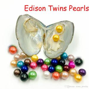 Free shipping 2020 rotonda Edison Twins Pearl Oyster 9-12mm 16 mix di perle di colore naturale monili del regalo fai da te delle decorazioni Vacuum Packaging all'ingrosso