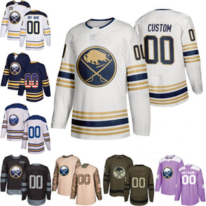 Personalizado 50th Golded Mens Mulheres Juventude Buffalo Sabres 9 Jack Eichel 26 Rasmus Dahlin 53 Jeff Skinner 23 Sam Reinhart camisas costuradas S-3XL