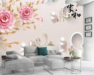 3d Wallpaper Living Room Noble Pink Peony Pearl Swan Lake Custom Beautiful Romantic Interior Decoration Wallpaper