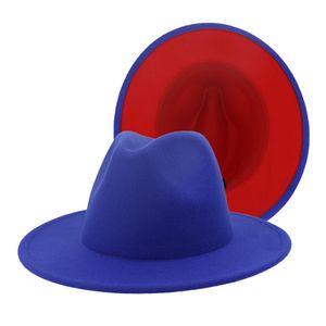 2020 New Royal Blue Red Patchwork Faux Wollfilz Fedora Hüte mit Thin-Gürtelschnalle Männer Frauen Large Brim Panama Trilby-Jazz-Kappe