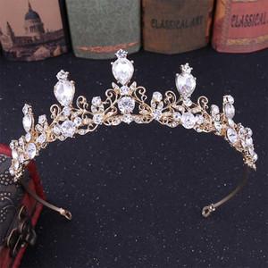 2019 Blanc Rose Bleu Or Rouge Cristal Diadema Bijoux diadèmes et Couronnes De Mariée mariée Noiva Cheveux De Mariage accesorios mujer corona
