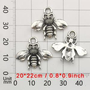 Mini Bee Petit Pendentif gros collier pendentif Bracelet Pendentif Charms main Bijoux Accessoires rétro argent abeille Vente chaude DBC BH3141