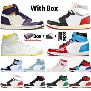 Con la caja 2020 tamaño de los zapatos de baloncesto del Mens superior 1s Obsidiana UNC Deporte Sin Miedo FANTASMA VERDE TURBO 1 Tablero GYM ROJO zapatilla de deporte de 5,5-13
