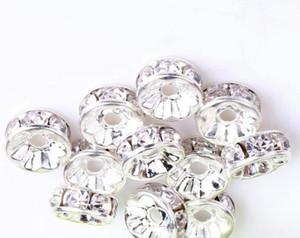 200 unids / lote blanco claro 6 MM 8 MM 10 MM RONDELLE Plateado Rhinestone Cristal Perlas redondas Granos espaciadores Perlas sueltas de cristal