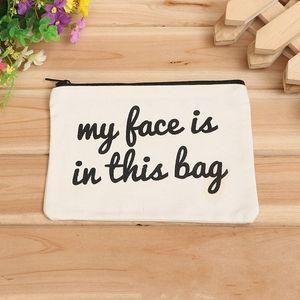 Blank Canvas Zipper Pencil Cases Makeup Bags Mobile Phone Clutch Bag Pen Pouches Cotton Cosmetic Bag 19cmx15cm