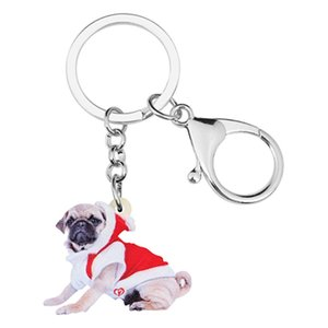 Chains Acrylic Christmas Costume Key Pug Dog Key Ring Car Purse Wallet Keychains For Women Girl Lady Men Decorations Gift