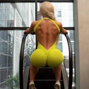 디자이너 요가 점프 슈트 섹시한 악어 패턴 트레이닝 복 럭셔리 활동 등이없는 장난 꾸러기 새 스타일 실행 착용 2020Fluorescent 녹색 여자