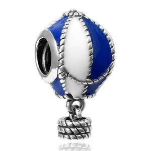 Neue reale 925 Sterlingsilber-Charme Blau / Weiß Emaille-Heißluft-Ballon-hängende Korne für Frauen-Geschenk paßt europäischen Charme-Armbänder DIY Schmuck