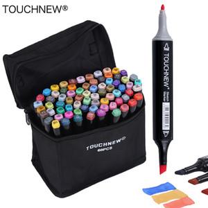 Touchnew 30/40/60/80 색상 아트 마커 알코올 기반 마커 드로잉 펜 세트 만화 듀얼 헤드 아트 스케치 마커 디자인 펜 T190712