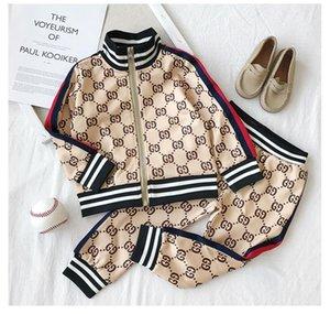 Los niños del diseñador sistemas de la ropa 2020 nuevo lujo de impresión chándales letra de la manera chaquetas + chándal informal estilo de los deportes Capucha Niños Niñas