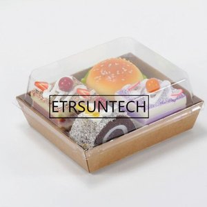 200sets Burrito Baco Wrap Box Transparent Square Sandwich Box Puff Cake Packing Boxes Plastic Disposable Food Container