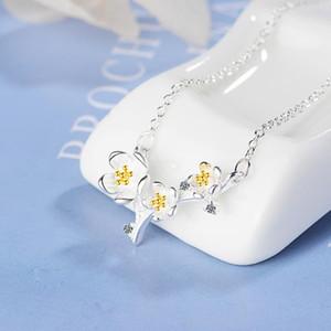 Drop Shipping 925 Sterling Silver Necklaces Plum Flower Pendants&Necklaces Jewelry Collar Colar de Plata