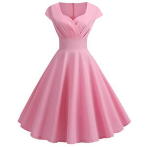 TYJTJY S-2XL Elegante Volantes Vestido de Verano Plisado Mujeres Sexy Cuello En V Robe de La Vendimia Vestidos Rosados Pinup Party túnica Vestidos