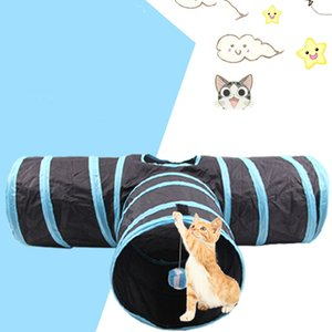 Waterproof Foldable Tunnel Cat Educational Toys Kitten Non-woven Fabric Funny Tent Nest Ball Toy Pets Training Supplies 3 Holes