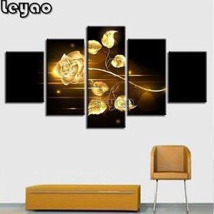 """Diamond Pintura 5d """"5 Piezas de oro Rose pinturas sobre tabla del paisaje Multi"""" mosaico del diamante del bordado de la venta Decoración plaza llena"""